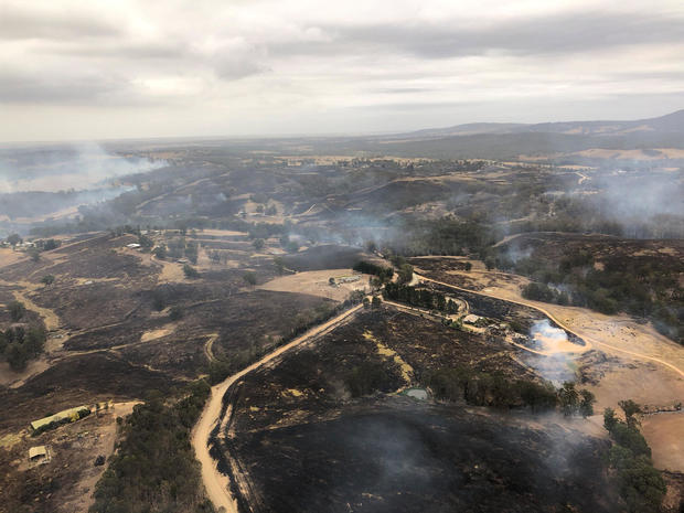 An aerial view shows the aftermath of bushfires in Bairnsdale