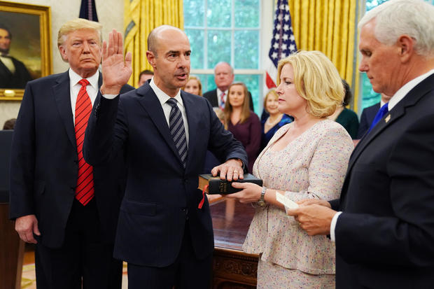President Trump Participates In Ceremonial Swearing In Of Labor Secretary Eugene Scalia At Oval Office