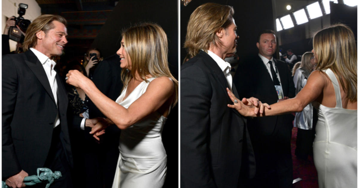 Jennifer Aniston And Brad Pitt Screen Actors Guild Interaction Sparks Rumors About Marriage And Goes Viral Photographs And Video Of Acceptance Speech Cbs News