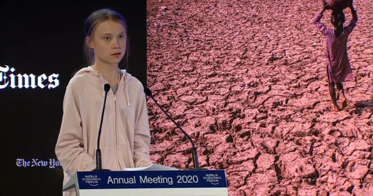 """Greta Thunberg calls for end to all fossil fuel investment """"now"""" at Davos forum"""