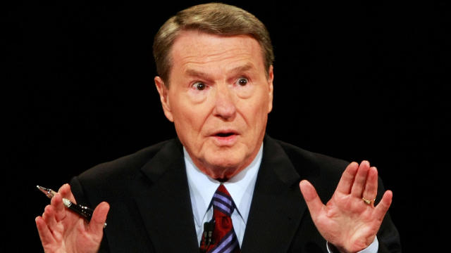 Veteran PBS anchor and debate moderator Jim Lehrer asks a question during the first presidential debate between Senator John McCain and Senator Barack Obama at the University of Mississippi in Oxford, Mississippi, on September 26, 2008.