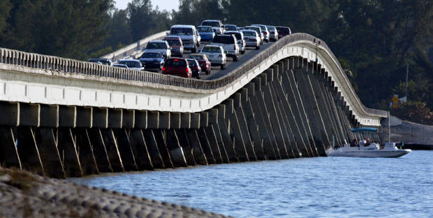 For Travel - 02/16/03 - As many as 12,000 cars a day cross the causeway from Ft. Myers to Sanibel Island.  A 20 mph speedlimit guarantees a traffic jam and a trip of over an hour drivetime.