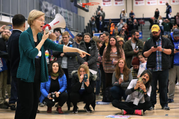 Sen. Warren Attends Iowa Caucus In Des Moines