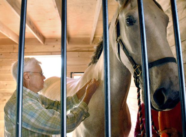 Dr. David Jefferson, a veterinarian, administers Eastern equine encephalitis vaccine to a horse at