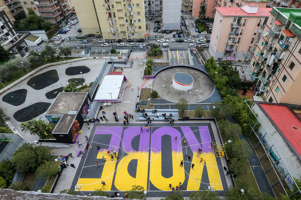 A top view of the basketball court, dedicated to the memory