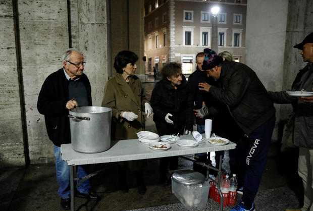 Dino Impagliazzo, Rome's 90-year-old 'chef of the poor', gives food to homeless living outside the Vatican