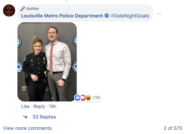 Louisville's police department shared surveillance video of two off-duty officers stopping an attempted robbery. The officers were later revealed to be a married couple out for dinner.