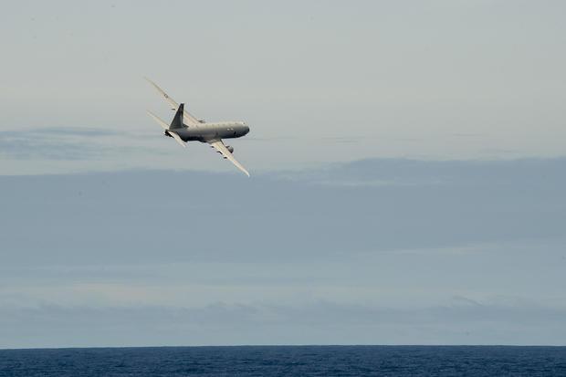 U.S. Navy P-8A Poseidon Flies by USS Preble