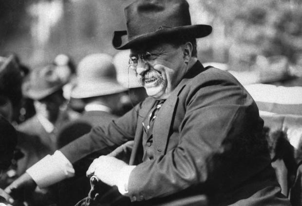 President Theodore Roosevelt Seated in Automobile