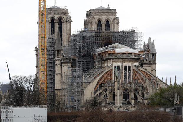 Notre Dame Cathedral is seen in Paris March 11, 2020, after it was partially destroyed by a fire in April 2019 whilst undergoing renovation work.
