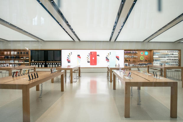 An empty Apple store is seen following the outbreak of coronavirus disease (COVID-19), in New York City