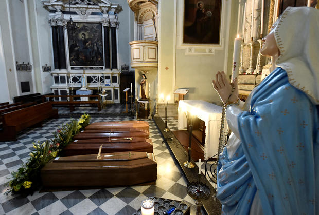 Coffins are seen inside a church in Serina near Bergamo, one of Italy's cities worst-hit by coronavirus disease (COVID-19)