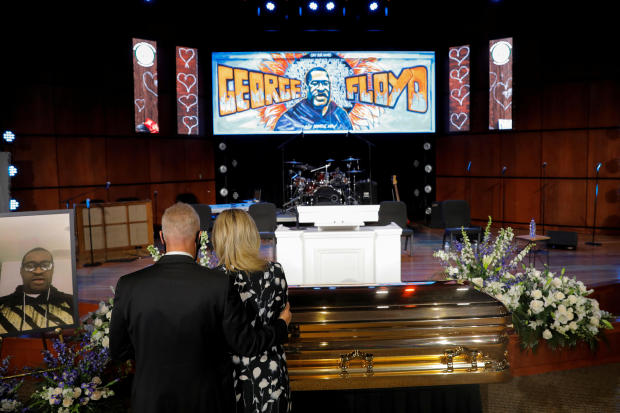 Mourners pay respect to George Floyd during his memorial service in Minneapolis June 4, 2020.