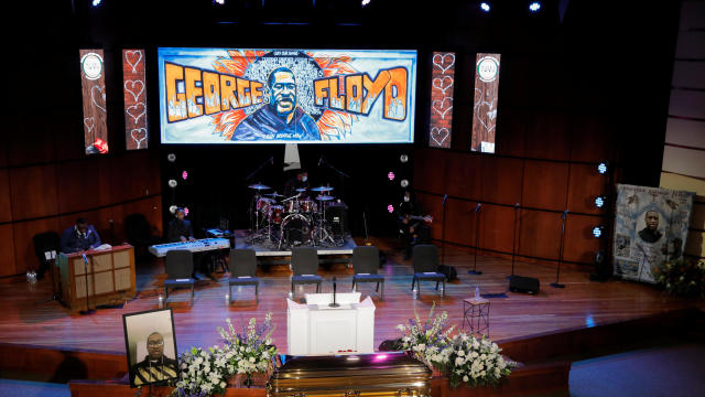 The casket of George Floyd is seen ahead of his memorial service in Minneapolis June 4, 2020.