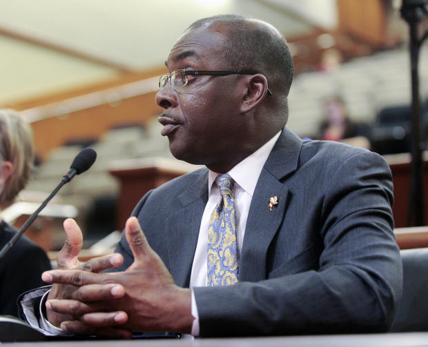 Buffalo Mayor Byron Brown testifies during a hearing on local government funding on January 30, 2017, in Albany, New York.