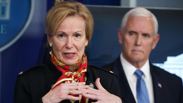 Deborah Birx, response coordinator for the White House coronavirus task force, speaks as Vice President Mike Pence listens during a briefing on the coronavirus in the Brady Briefing Room at the White House on March 31, 2020, in Washington.