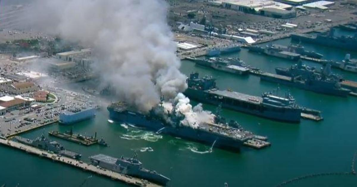 At least 1 injured in fire aboard USS Bonhomee Richard at Naval Base San Diego
