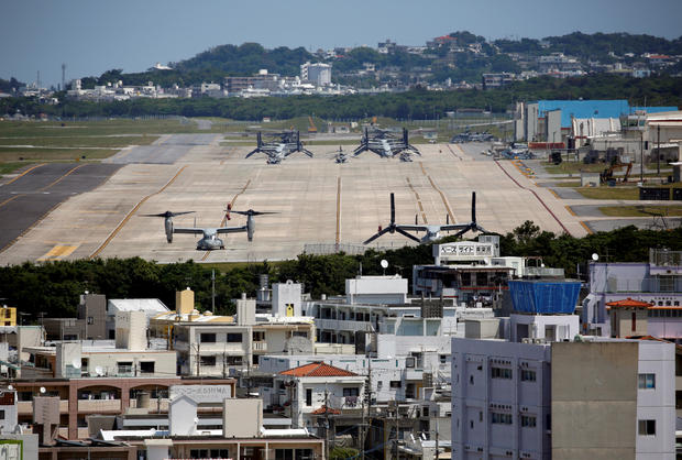 FILE PHOTO: U.S. Marine Corps MV-22 Osprey aircrafts are seen at the U.S. Marine Corps' Futenma Air Station in Ginowan on Japan's southernmost island of Okinawa