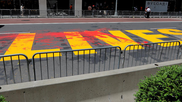 """Black Lives Matter"" mural vandalized with red paint along 5th Avenue outside Trump Tower in New York City"