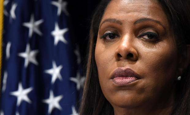 New York Attorney General Letitia James holds a press conference at her office in New York March 28, 2019.