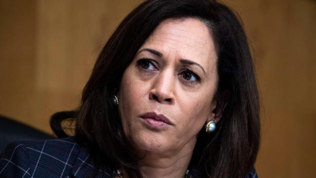 Senator Kamala Harris listens during a Senate Homeland Security and Governmental Affairs hearing in the Dirksen Senate Office Building on June 25, 2020, in Washington.