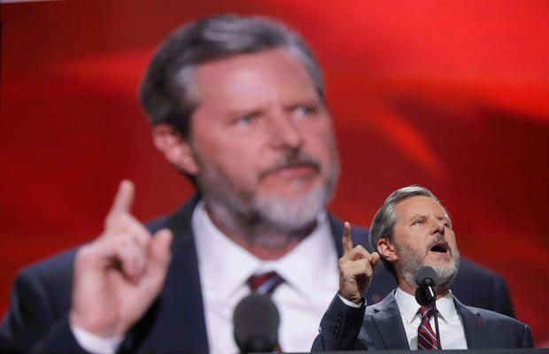 FILE PHOTO: Liberty University President Jerry Falwell Jr. speaks during the final day of the Republican National Convention in Cleveland