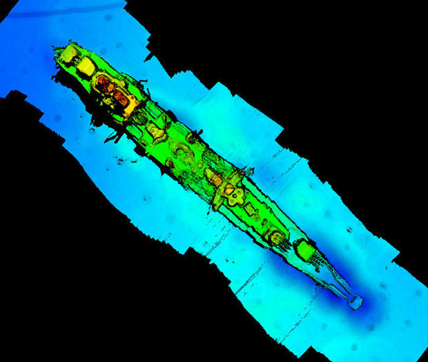 "A sonar scan of sunken German WWII warship cruiser ""Karlsruhe"" that had been observed 13 nautical miles from Kristiansand"