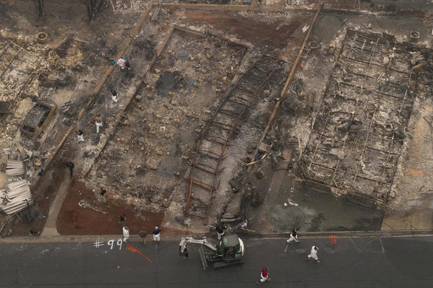Personnel and service dog search for remains of Almeda fire victims in Phoenix, Oregon