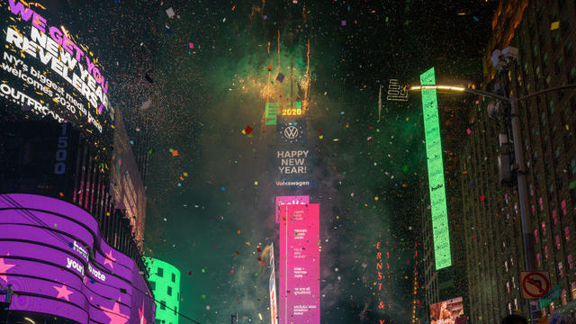 Thousands Gather In New York's Times Square To Usher In A New Decade