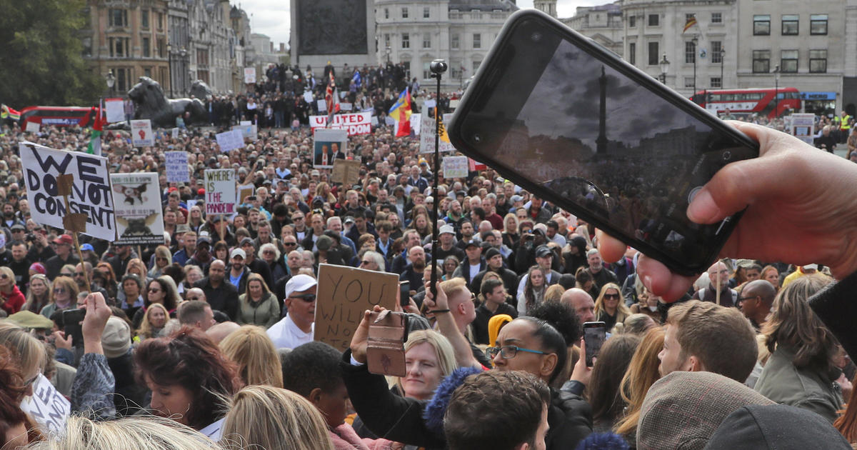 Thousands in London protest lockdowns and social distancing rules