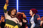"""Celia Rose Gooding, left, is seen with the company of """"Jagged Little Pill"""" during a performance in this image released by Vivacity Media Group."""