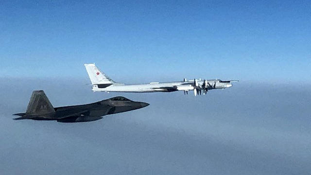 A U.S. F-22 fighter jet intercepts a Russian Tu-35 bomber in international airspace near Alaska October 19, 2020.