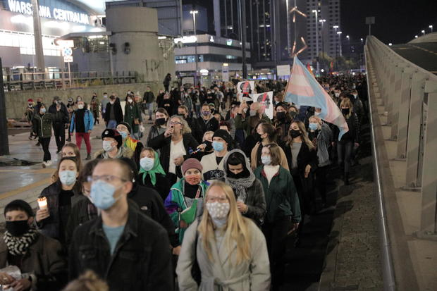 People protest against imposing further restrictions on abortion law in Poland in Warsaw