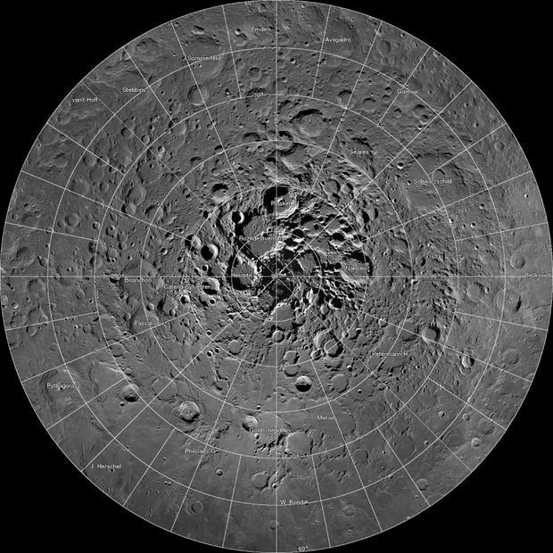 FILE PHOTO: Undated NASA image shows high resolution mosaic of the moon?s north polar region
