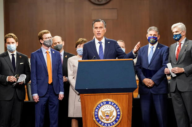 Bipartisan members of the Senate and House announce coronavirus relief legislation framework at news conference on Capitol Hill in Washington