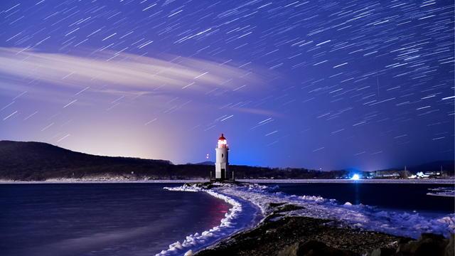 Geminids meteor shower in Vladivostok, Russia