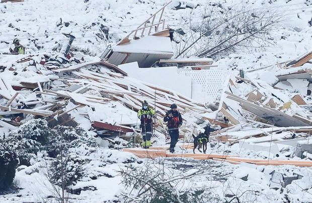 Rescue crews work in the landslide area at Ask, Gjerdrum