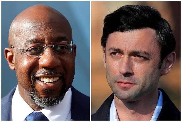 Democratic U.S. Senate candidates Rev. Raphael Warnock and Jon Ossoff are seen in a combination of photographs