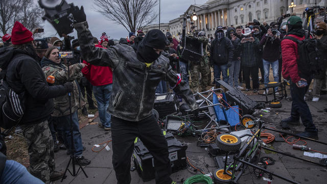 Protesters destroy broadcast media equipment outside U.S. Capitol