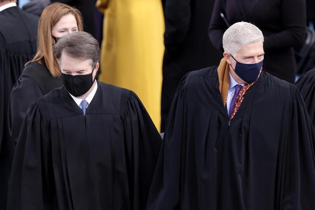 U.S. Supreme Court Justices Brett Kavanaugh, Amy Coney Barrett and Neil M. Gorsuch at Biden's inauguration