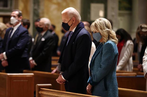 Joe Biden at church before inauguration
