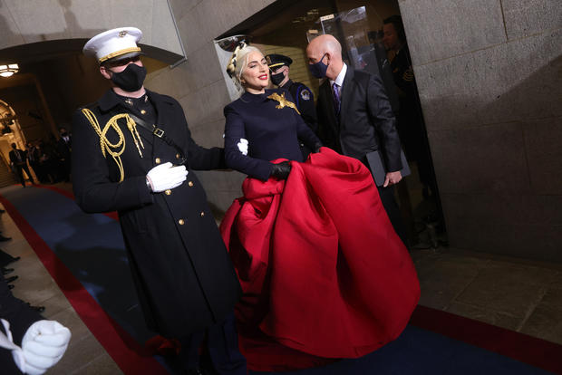 Lady Gaga arrives to sing the national anthem at the inauguration of President-elect Joe Biden