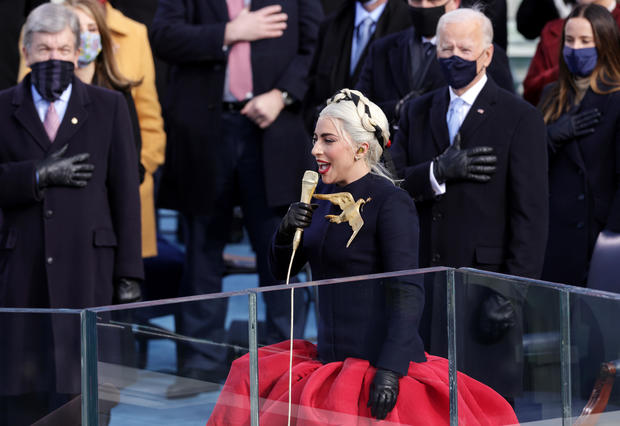 Lady Gaga sings the national anthem at the inauguration of President-elect Joe Biden