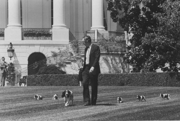 George H. W. Bush and Millie's puppies