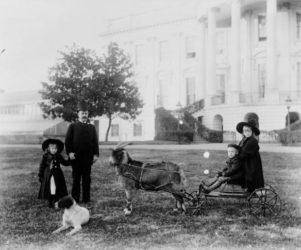 Photograph of Major Russell Harrison (1854-1936) outside the White House playing with his children. Photographed by Frances Benjamin Johnston (1864-1952). Dated 1893.