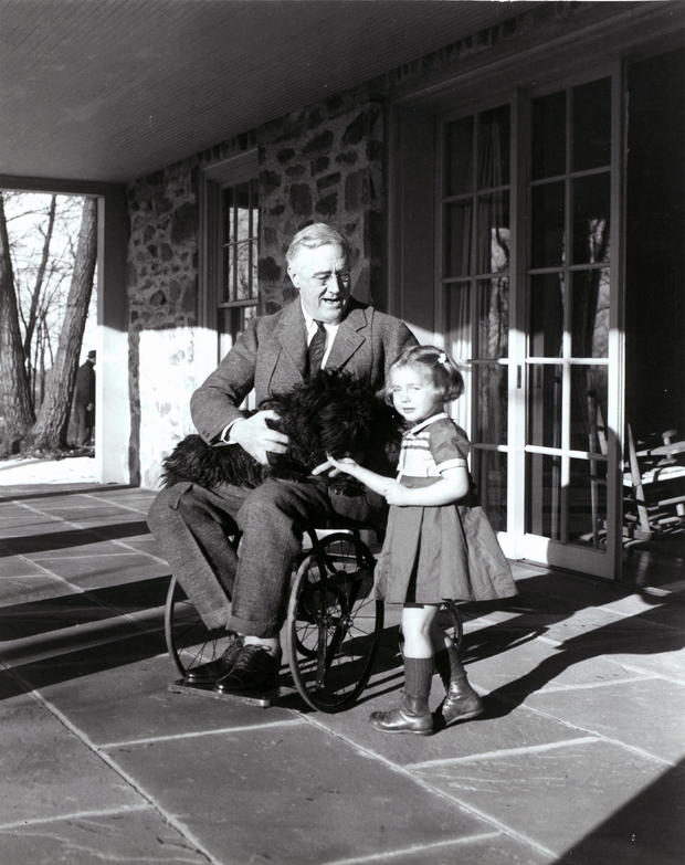 President Franklin D. Roosevelt in wheelchair with Fala