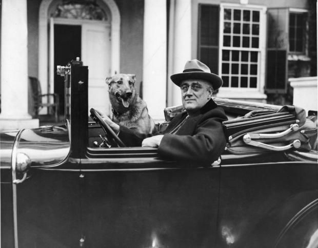 FDR Behind The Wheel with Major in the front seat