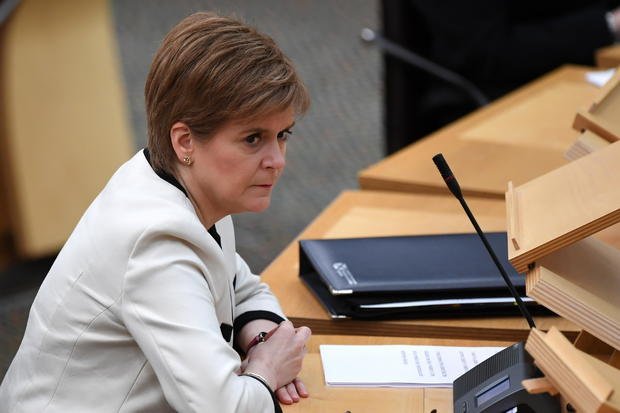 Scotland's First Minister Nicola Sturgeon, attends the First Minister's Questions at the Scottish Parliament in Holyrood, Edinburgh