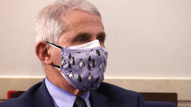 Dr. Anthony Fauci wearing two face masks at a White House briefing