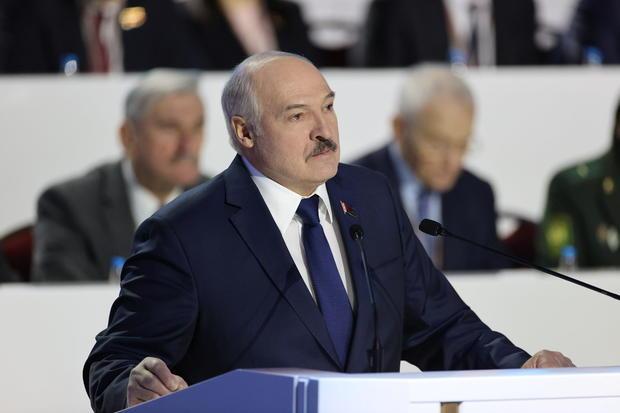 Belarusian President Alexander Lukashenko attends the All Belarusian People's Assembly in Minsk